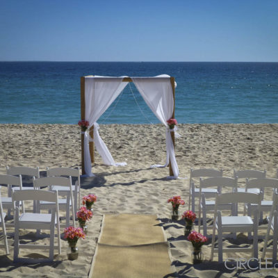 A Wedding Set Up On The Beach.