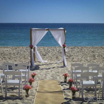 A Wedding Set Up On The Beach.
