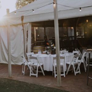 The Tent At Leapfrogs Set Up For A Dinner With Fairy-lights