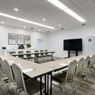 Conference room set up as U shape ready for a meeting at Quest Midland