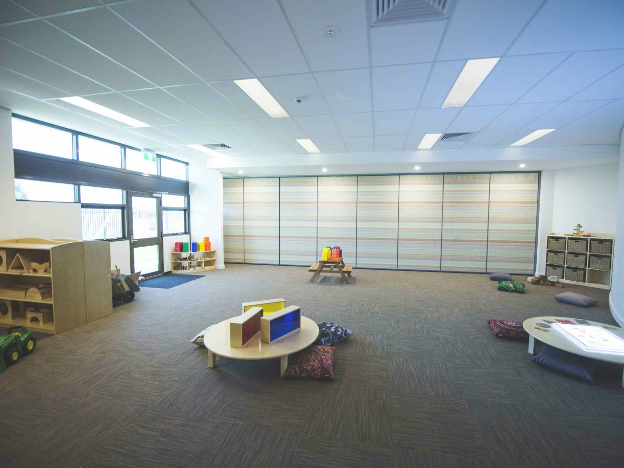 Carpeted Community Room.