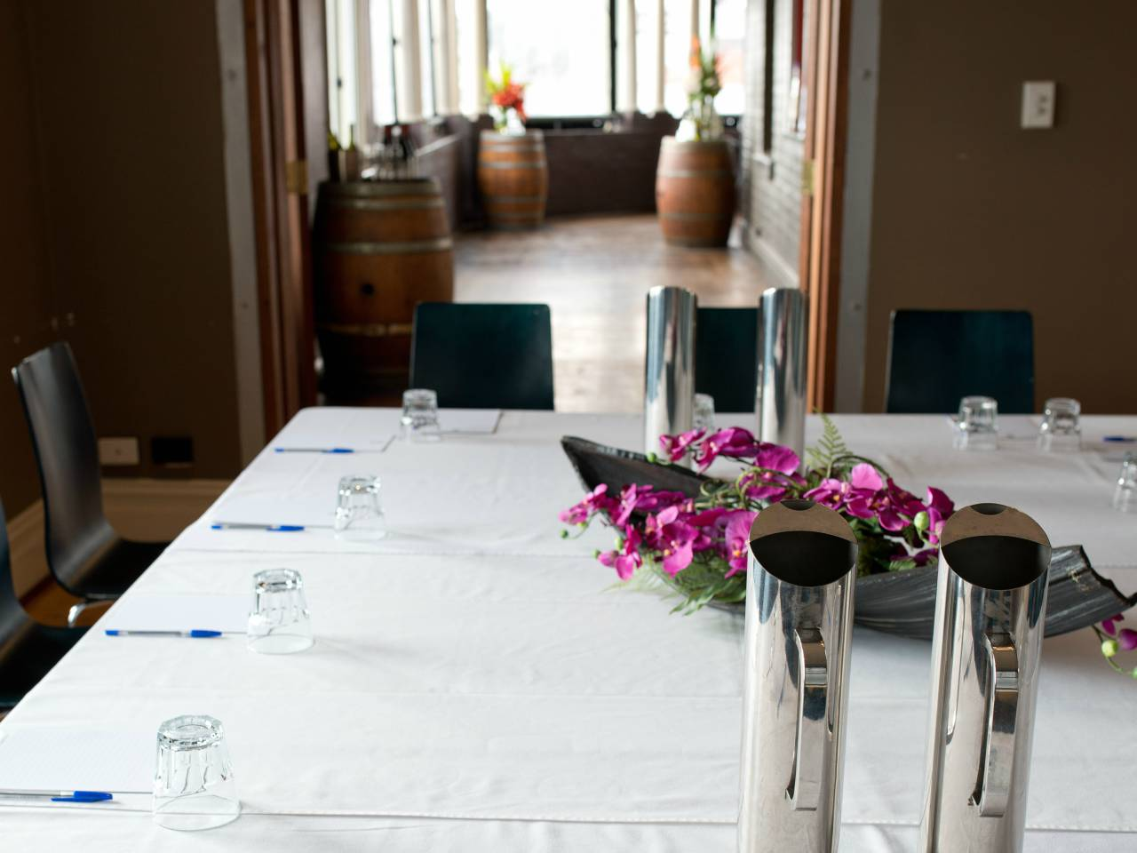 Meeting Room Table Prepared For A Meeting.