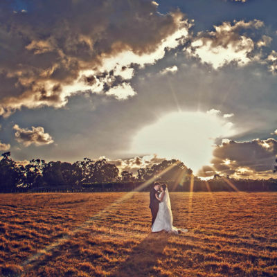 A stunning photo of a wedding couple at sunset alone in a field with a silhouette of trees and clouds in the background