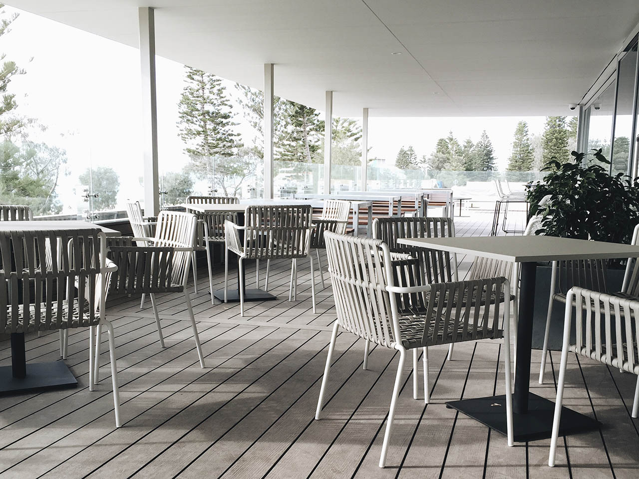 Chairs And Tables In Odyssea's Terrace With Forest View