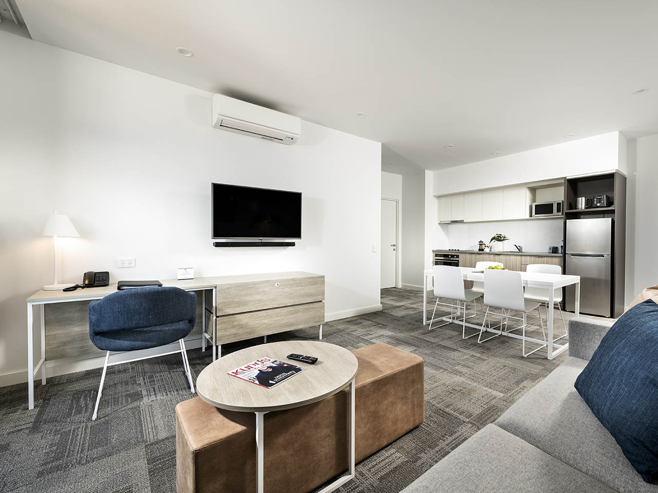 Quest Midland Room With Dining, TV Screen And Small Kitchen
