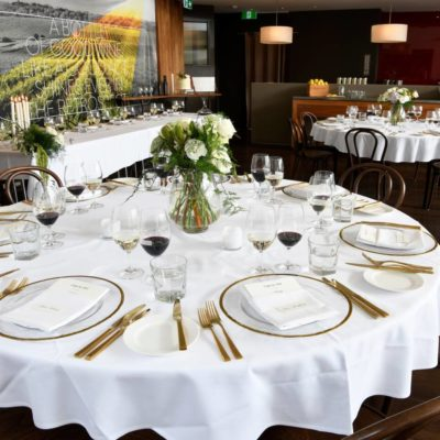 large round tables set up for a large private function