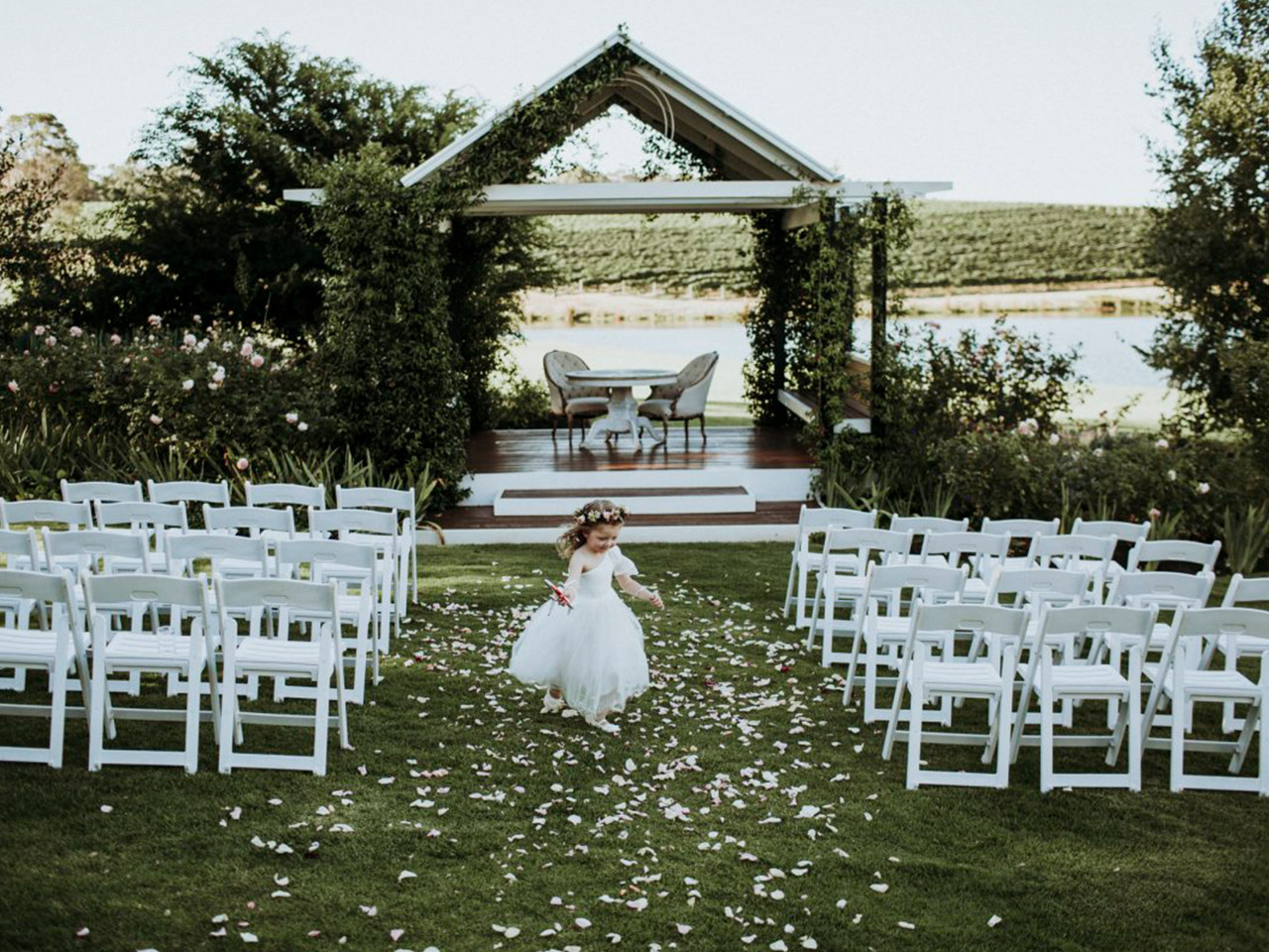 Garden Wedding Setup and a Flower Girl in the