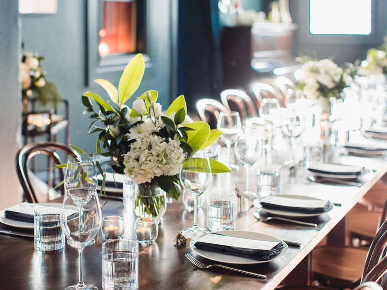 Long Table Setup with Flowers