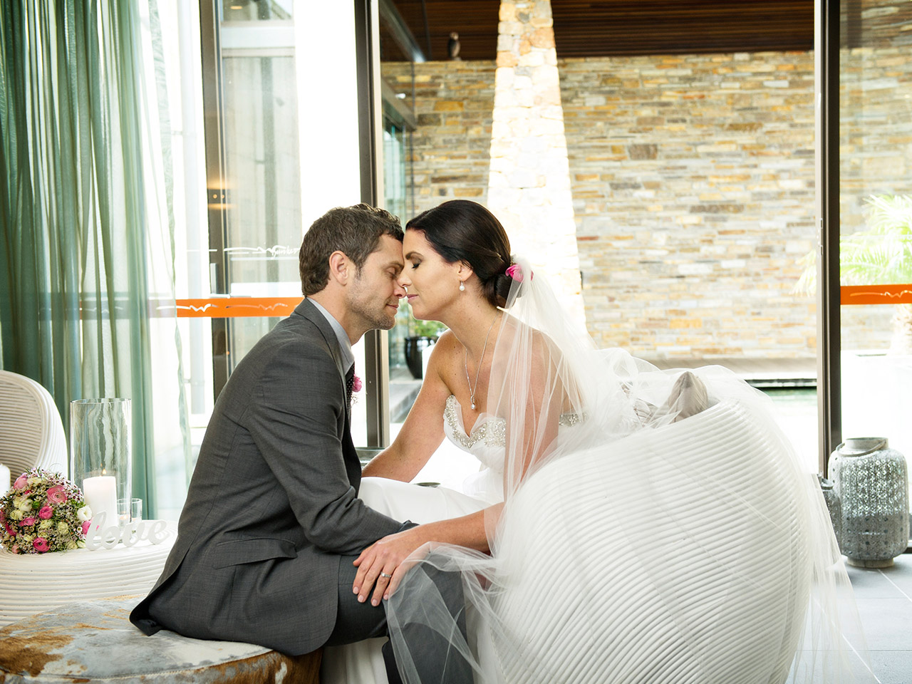 Groom And Bride Pictorial Almost Kissing.
