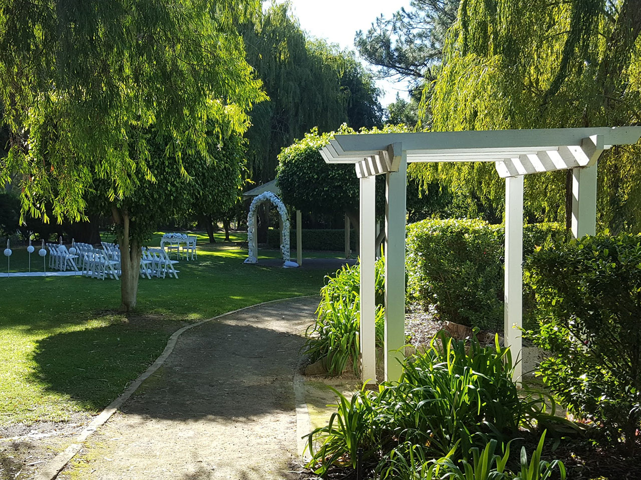 Wedding Ceremony Setup In A Garden