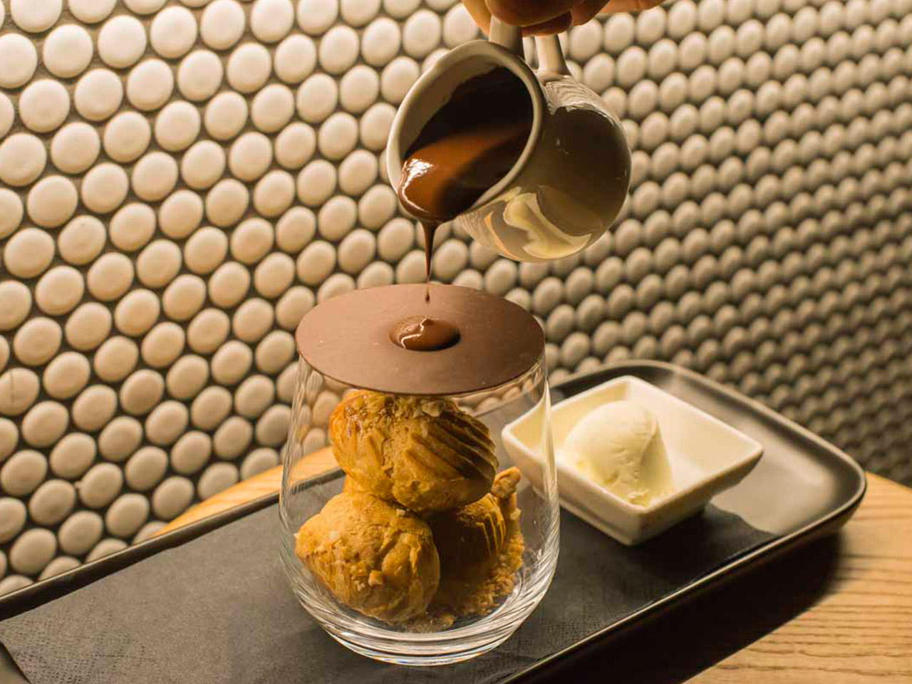 Melted Chocolate and a Pettite Choux Puffs