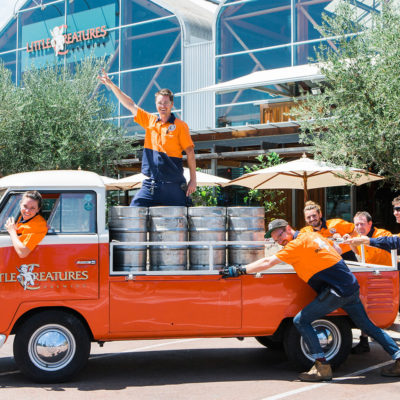 Little Creatures Employees Riding The Vintage Truck Outside The Building