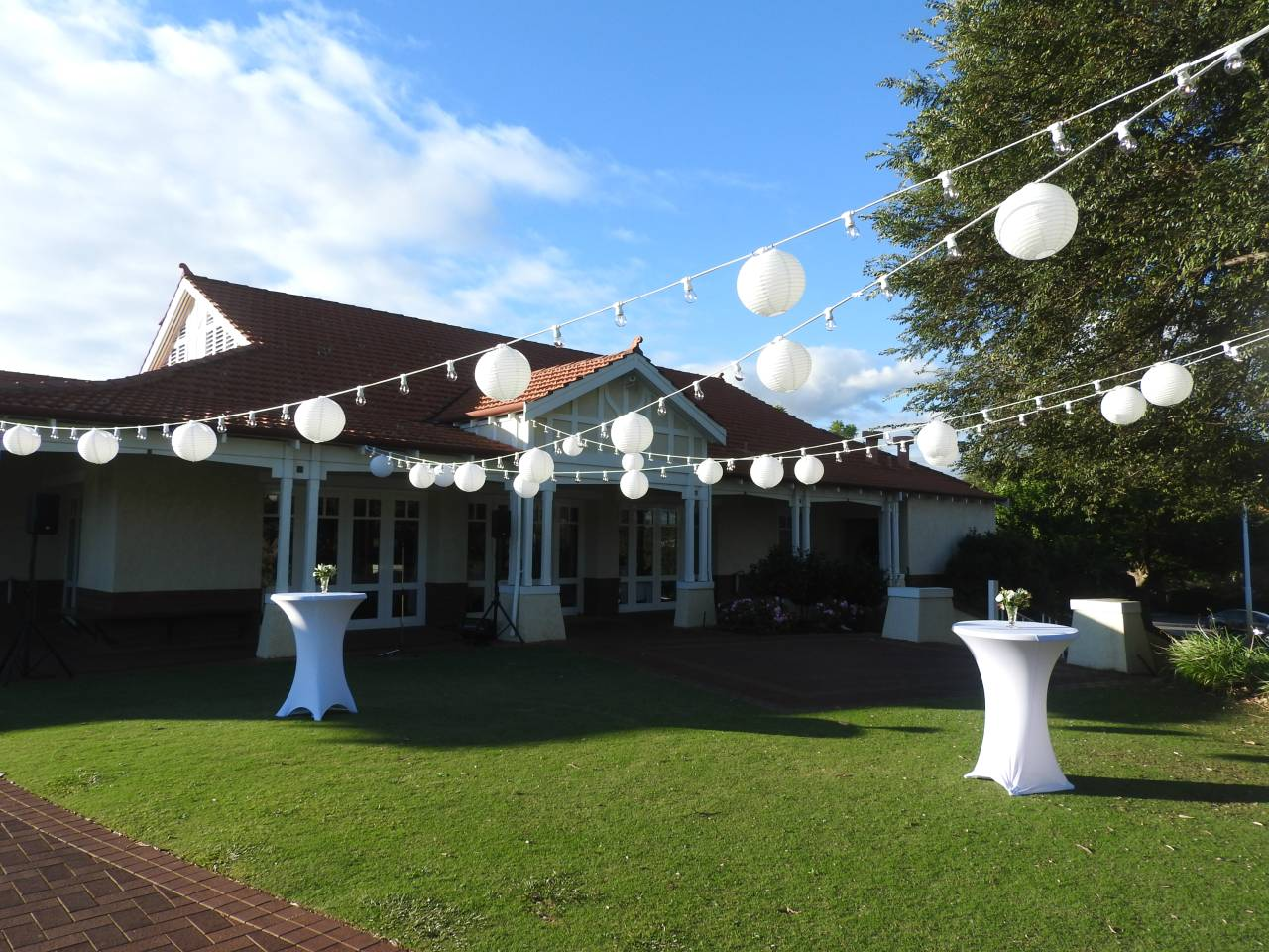 Federation Style Building Venue with Lawn and Tables set Up for a Celebration