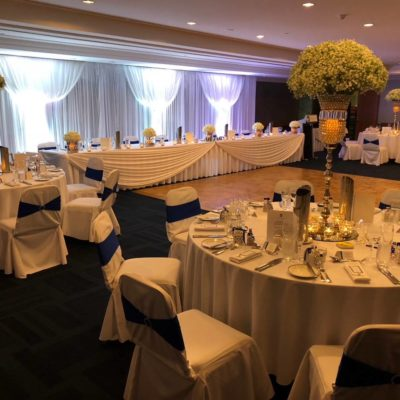 Tables And Chairs Set Up For A Banquet Style Wedding Function With A Dancefloor