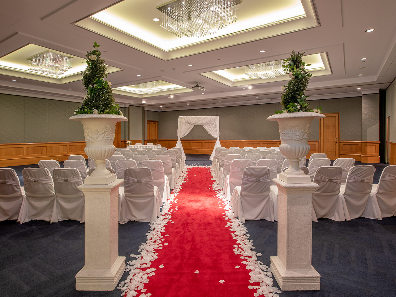 Chairs In Ceremony Setup With Red Carpet, Flower Petals On the Floor, And Wood Drap