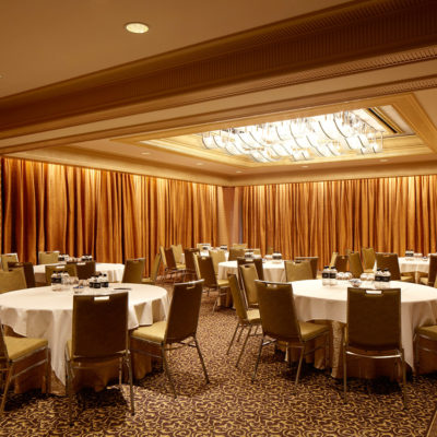 Banquet Style Setup Inside The Function Room With Ceiling Lights