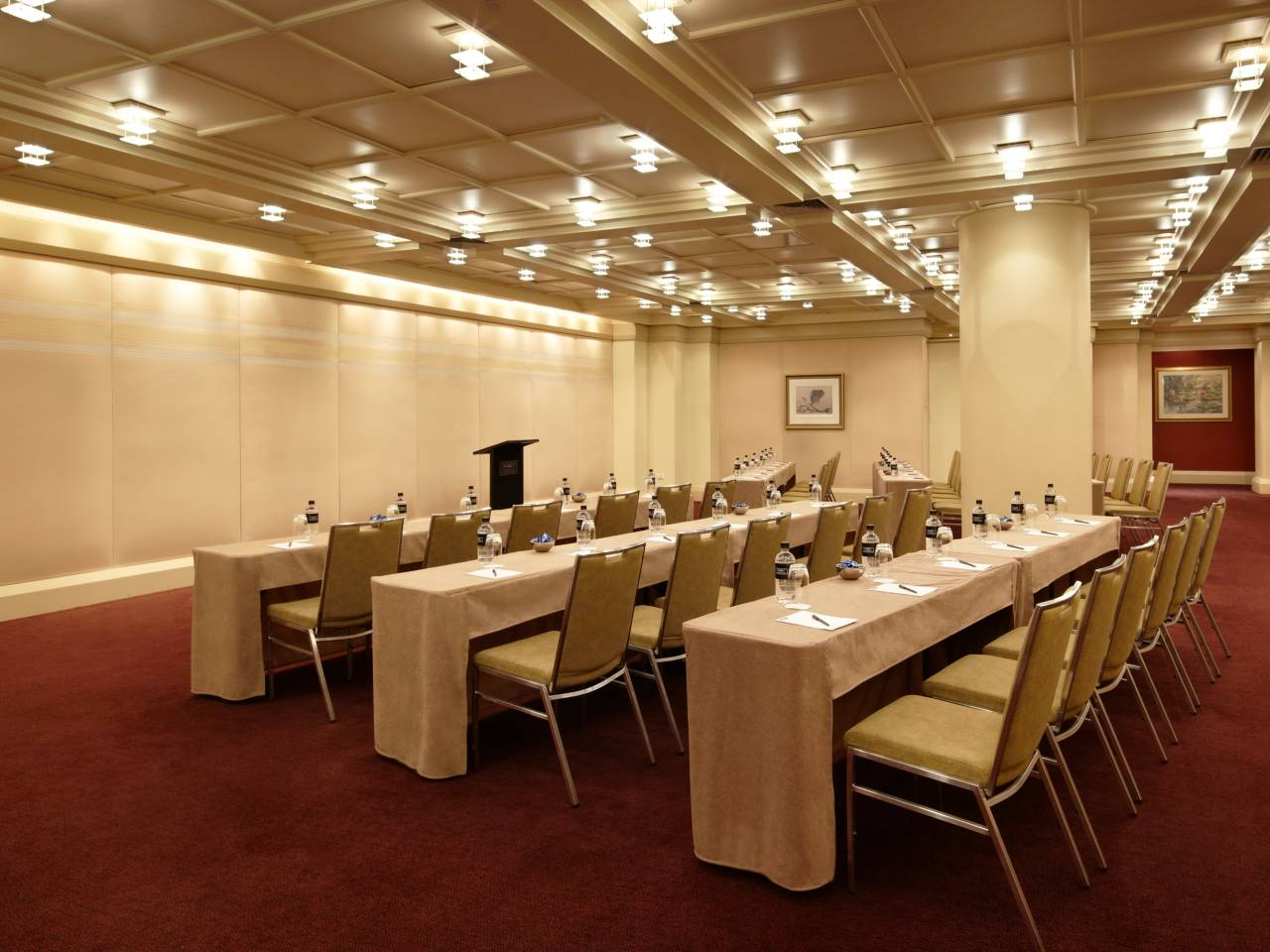 Table And Chairs Set Up Classroom Style At A Hotel Meeting Room