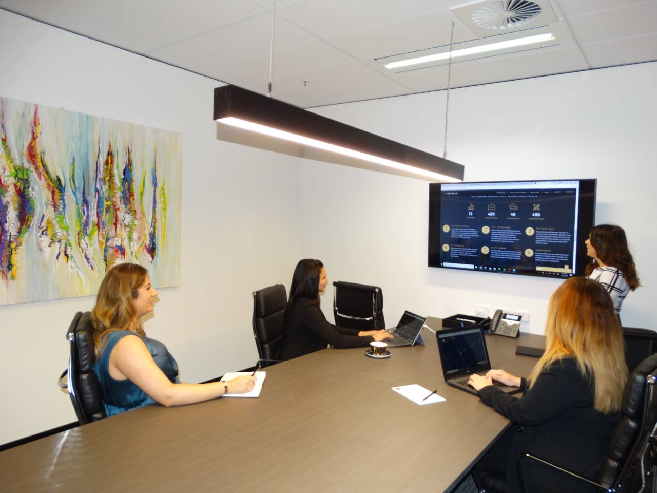 Training Session Being Carried Out In A Meeting Room With A Facilitator And Three Delegates Looking At A Screen