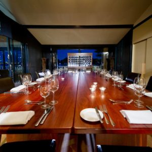 Private Dining Room Set Up For A Long Table Meal