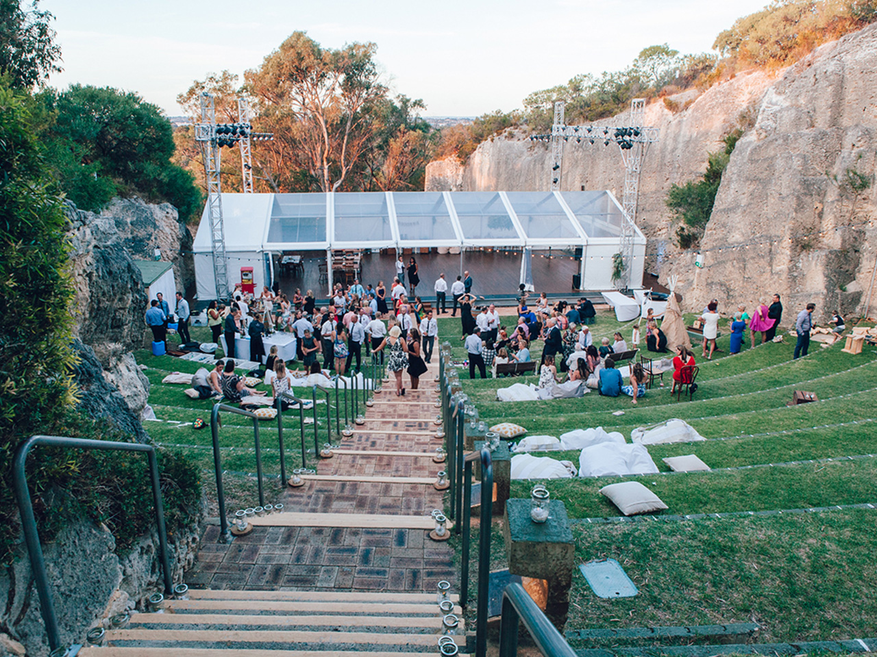 Unique Perth Venues. View Of Quarry Event Space With Marquee and Guests.