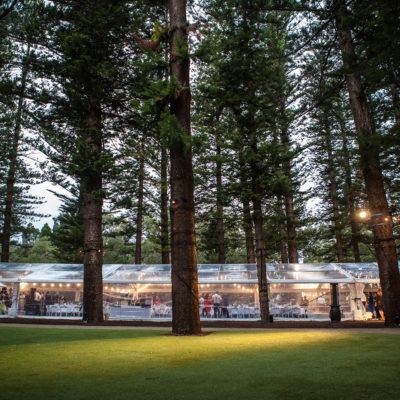 Outside View Of The Function Room Under The Pine Trees