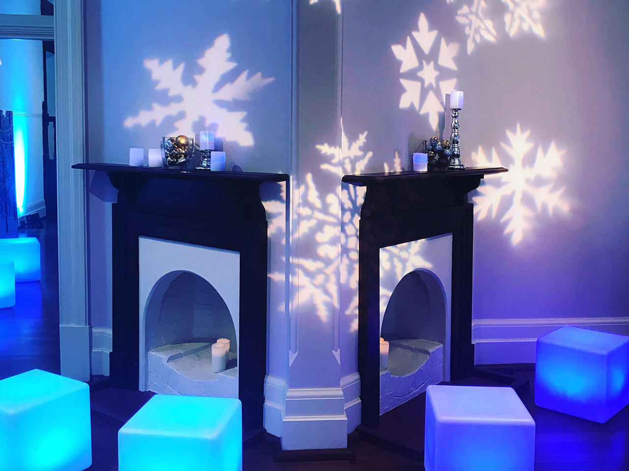 Inside The Gallery With Cocktail Tables, Chairs And Snowflakes Lightning