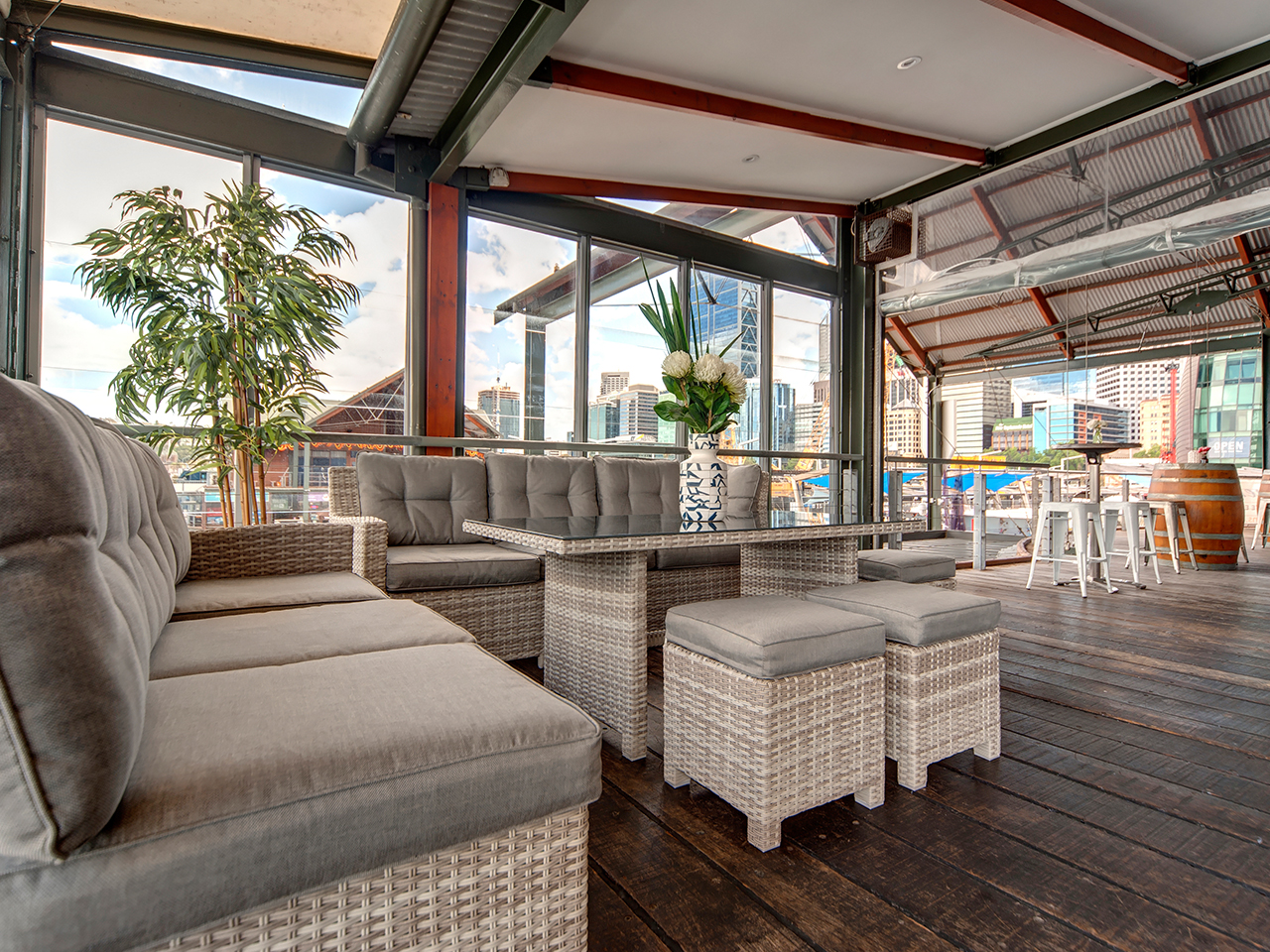 Perth Function Venue With Relaxing Chairs And Table Inside The Function Room Fronting The Balcony
