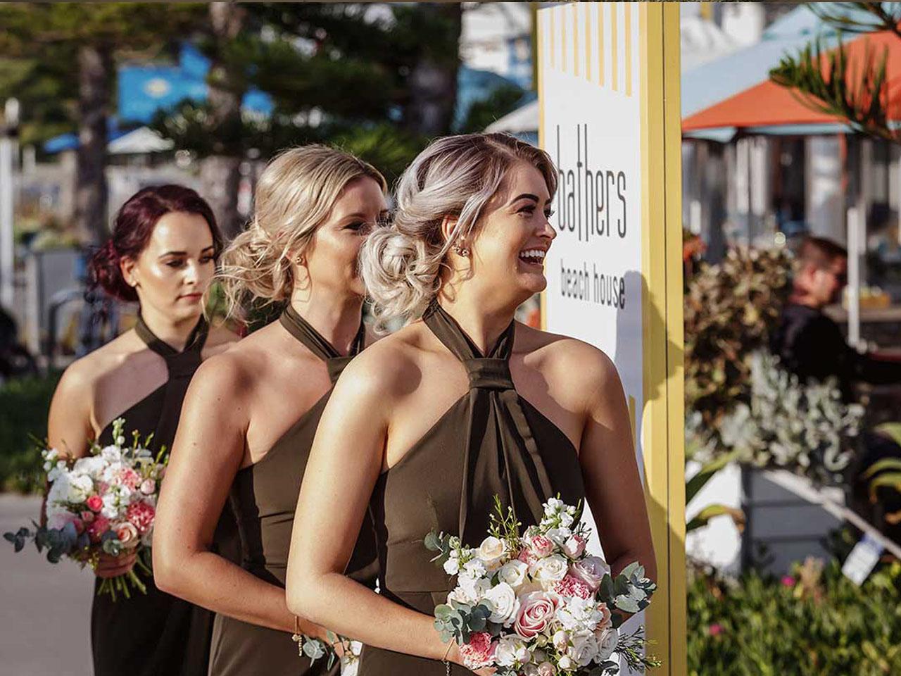 bridesmaids at wedding venue