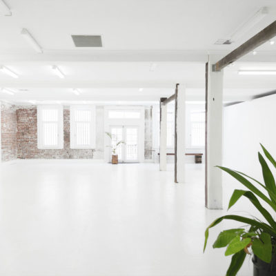 white room open floor with brickwork on back wall and plants in foreground