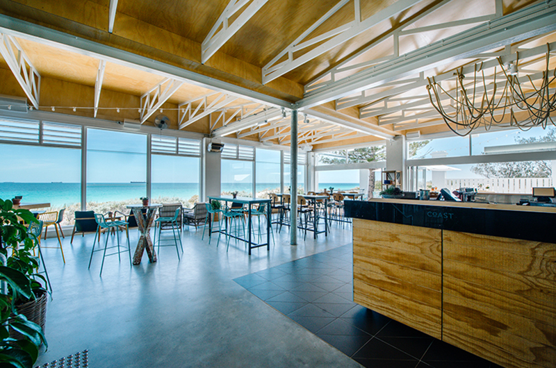 Bar Area at a Function Venue With Ocean In The Background