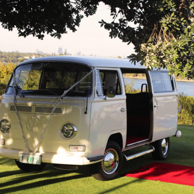 White Combi Van with Red Carpet