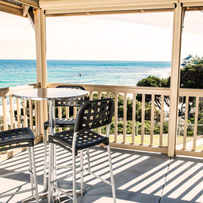 Function Room's Terrace With Ocean View, Few Chairs And A Table