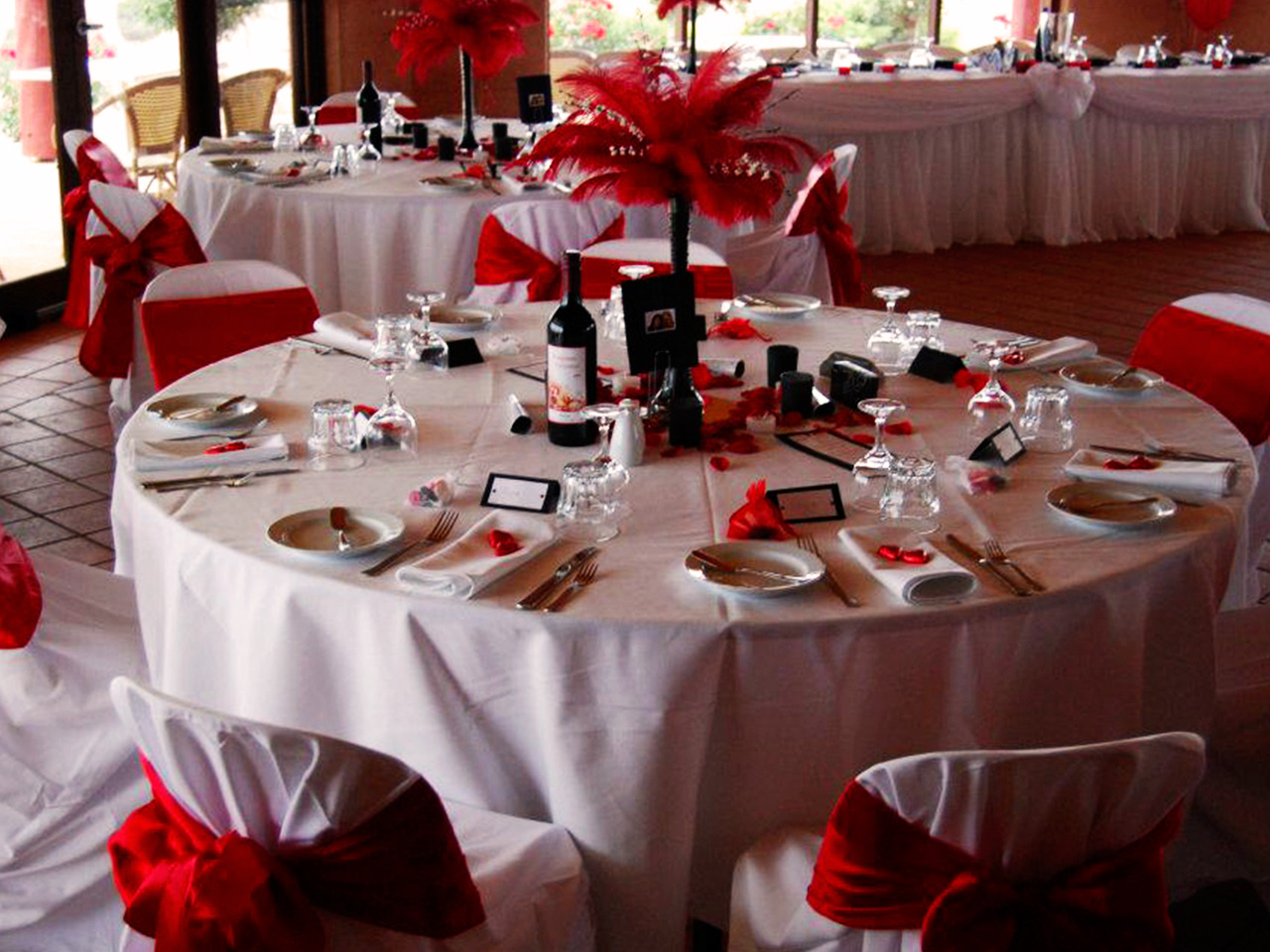 Chairs And TablesIn Banquet Style With White And Red Theme