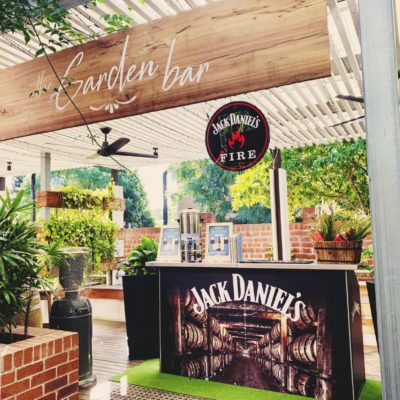 Beer garden entrance with Jack Daniels stand