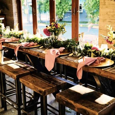 Long table set for dining for wedding