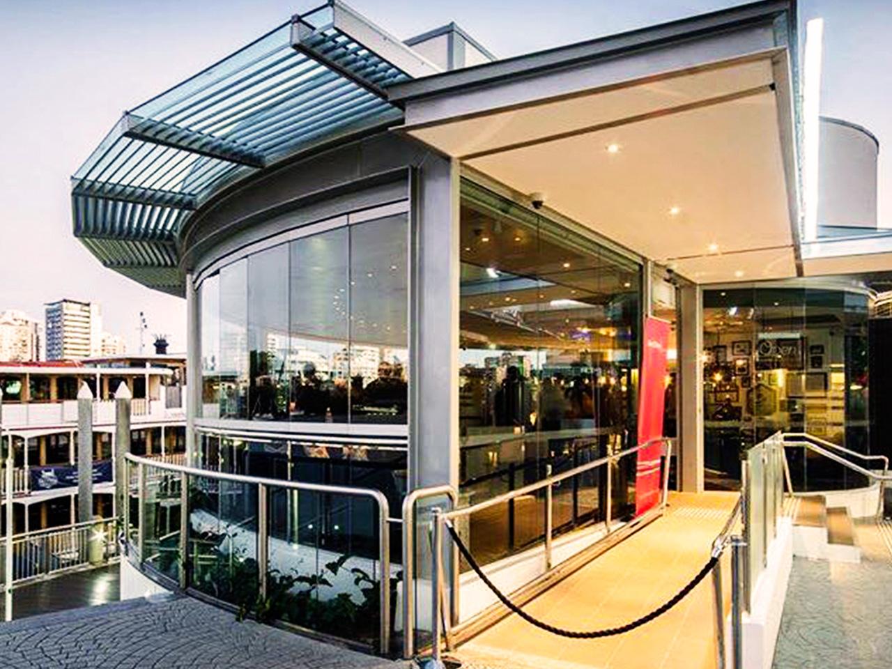 Riverbar venue entrance with glass walls