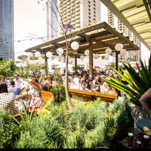 Crowded rooftop venue with green surrounds