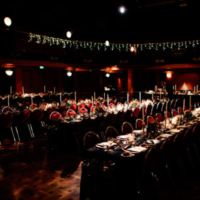Intimate dining setting with long tables