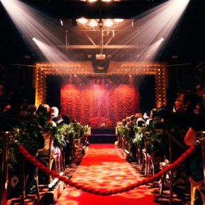 Red carpet path to the stage