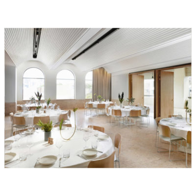 Function room with round tables set for a wedding