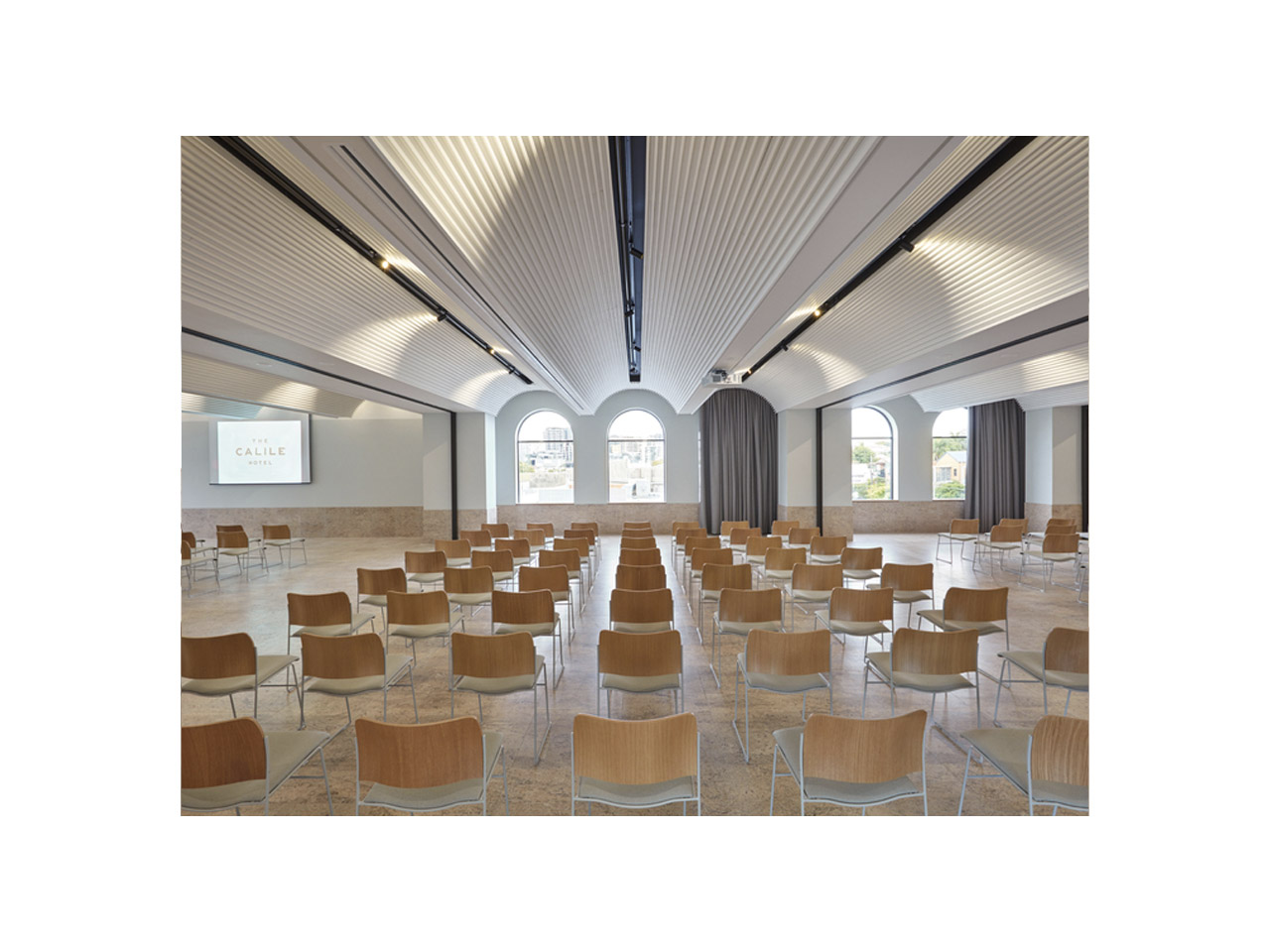 Function room with classroom style table layout