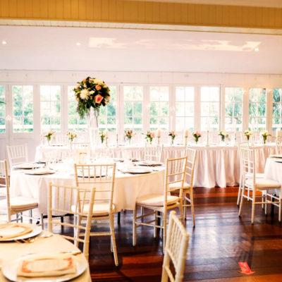 Wedding dining setting overlooking balcony and garden
