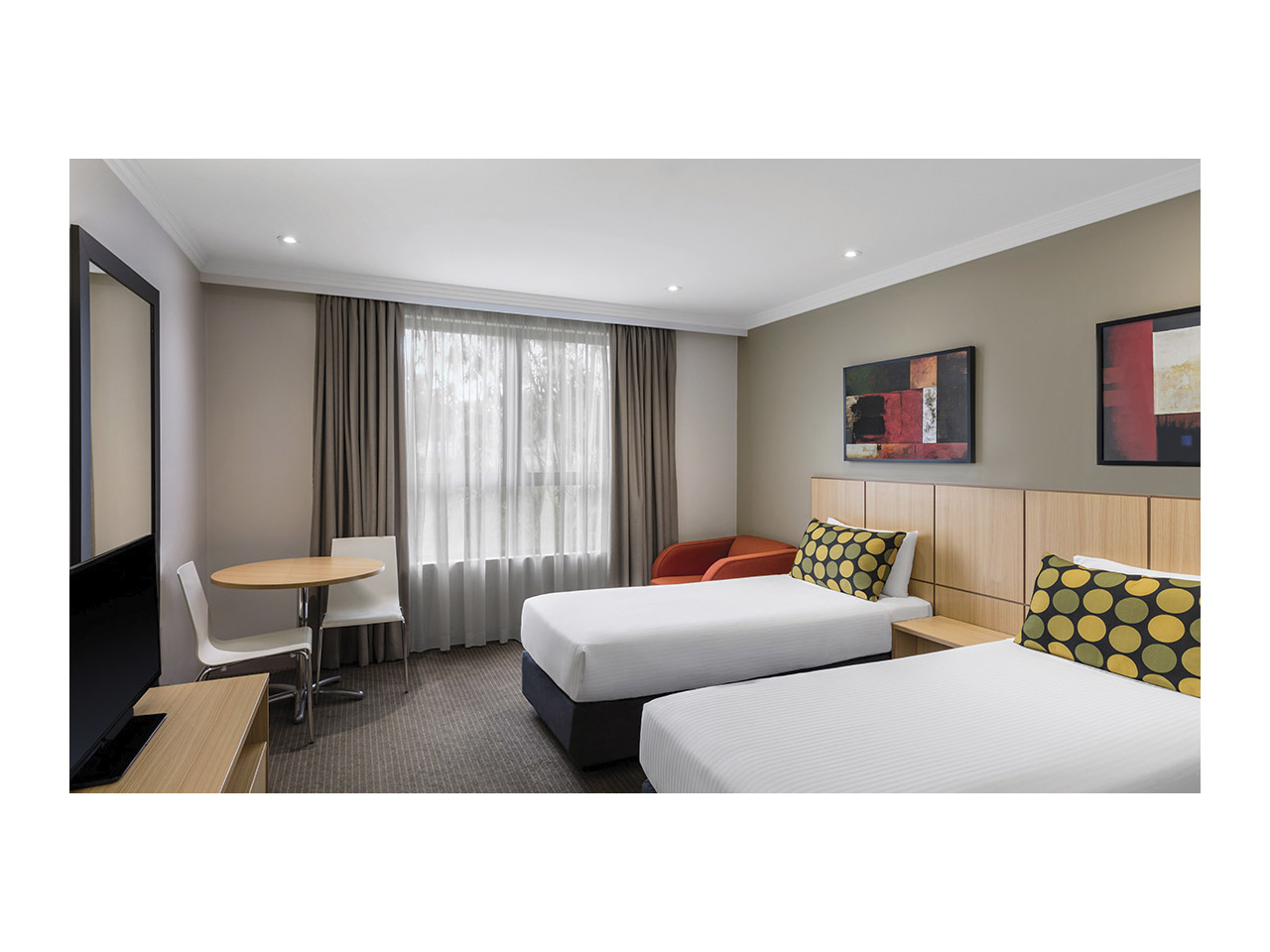Two single beds in hotel room
