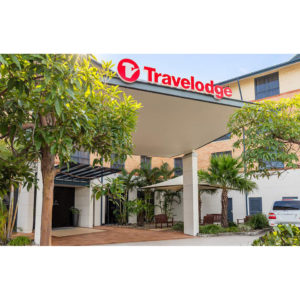 Travelodge front entrance with red signage