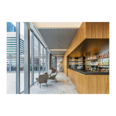 Bar area for the event space with outlook over city
