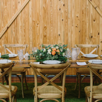 Pine wood tables and chairs set for a wedding