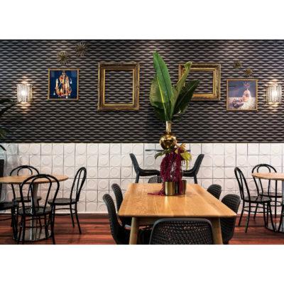 Bar seating with plush decor