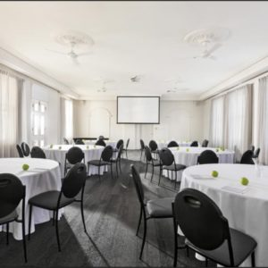 Function room with circular tables and projector screen