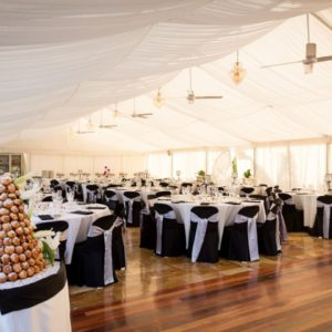 Inside wedding marquee