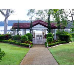 Empty lakeside house facing lake